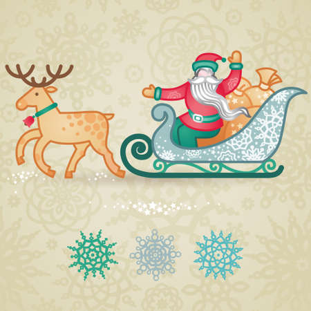 Jolly Santa Claus in a sleigh with a sacks of gift. Christmas vector elements, winter holidays icons collection. Ornament for invitations, greeting cards, brochures, magazines, leaflets.