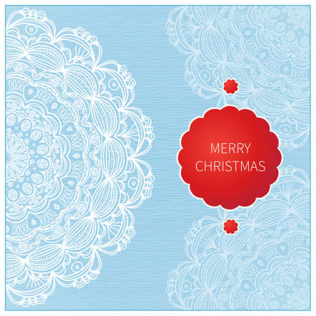place card: Vintage greeting card with lacy ornament. Christmas vector background. Place for your text. It can be used for decorating of invitations, greeting cards.