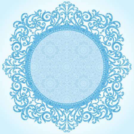 snowflake border: Winter concept frame. Vintage decorative round pattern with lacy ornament. Christmas vector background.  Place for your text. It can be used for decorating of invitations, greeting cards, decoration for bags, clothes.