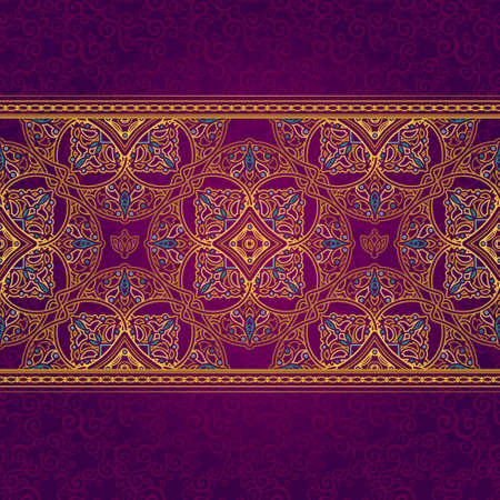 Vector seamless border in Eastern style. Ornate element for design and place for text. Ornamental lace pattern for wedding invitations and greeting cards.Traditional golden decor on purple background. Vector