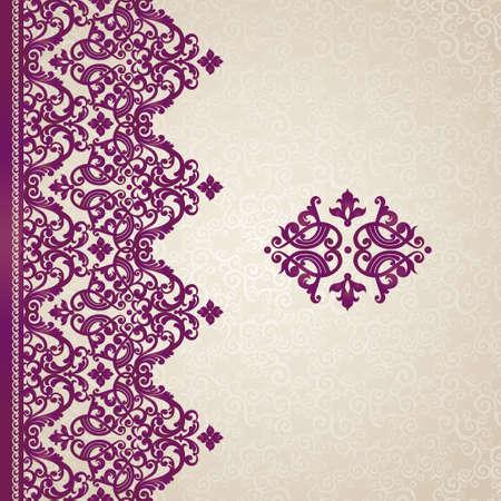 Vecteur frontière perméable dans un style victorien. Ornement élément pour la conception avec place pour le texte. Motif ornemental pour les invitations de mariage, cartes de voeux. Décor violet traditionnel.
