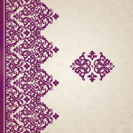 friso: Vector sin frontera en estilo victoriano. Adornado elemento para el dise�o con lugar para el texto. Modelo ornamental para las invitaciones de boda, tarjetas de felicitaci�n. Decoraci�n p�rpura tradicional.