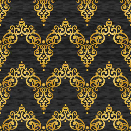 victorian wallpaper: Vector seamless pattern in Victorian style. Golden element for design on dark ornamental backdrop. Brocade lace background. Ornate floral decor for wallpaper. Endless texture. Bright pattern fill.