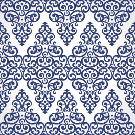 victorian wallpaper: Vector seamless pattern in Victorian style. Element for design and ornamental backdrop. Contrast floral ornament on white background. Ornate decor for wallpaper. Endless texture. Deluxe pattern fill.