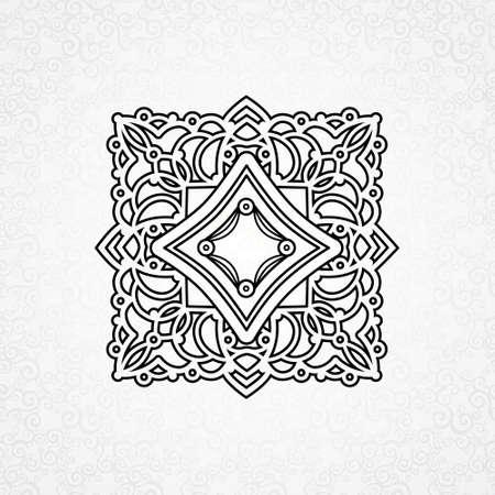 Vector ornament in Ost-Stil. Verziert Element für Design im marokkanischen Stil. Zierlochmuster für Hochzeitseinladungen und Grußkarten. Traditionelle schwarzen Dekor auf grauem Hintergrund.