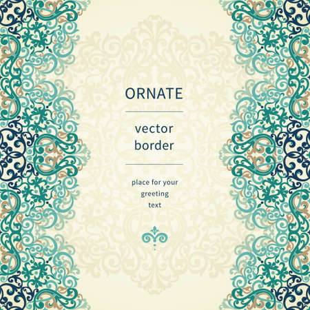 Vintage ornate border in Eastern style. Colorful Victorian floral decor. Template frame for greeting card and wedding invitation. Ornate vector frieze and place for your text. Vector