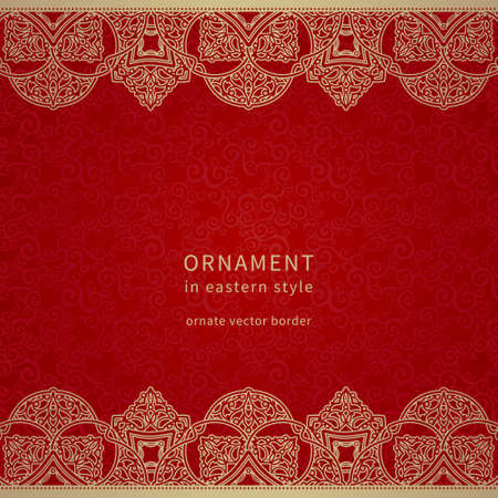 Vector border in Eastern style. Ornate element for design and place for text. Ornamental lace pattern for wedding invitations and greeting cards. Traditional golden decor on red background.