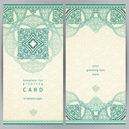 Vintage sierlijke kaarten in Oost-stijl. Kleurrijke Victoriaanse bloemen decor. Template frame voor wenskaart en bruiloft uitnodiging. Sierlijke vector grens en plaats voor uw tekst.