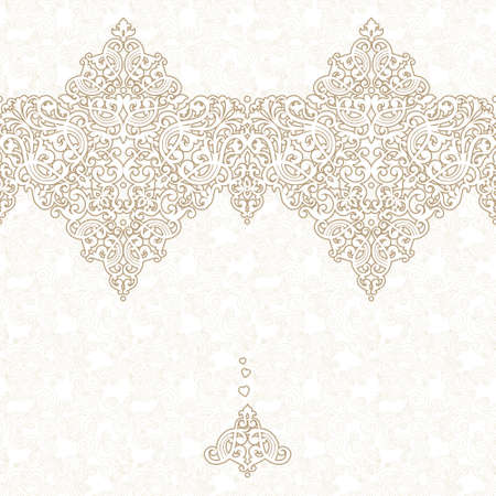 lace vector: Vector seamless border in Eastern style. Ornate element for design and place for text. Ornamental lace pattern for wedding invitations and greeting cards. Traditional decor.