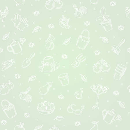 crop sprayer: Vector seamless background of hand drawn garden tools, vegetables and fruits. Vector monochrome background. Endless simple texture. Paper textured background. Green pattern fill.