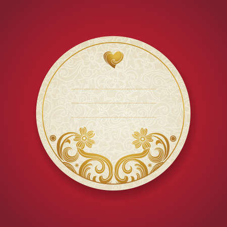 scroll border: Card with golden curls. Vintage set of east style backgrounds of scroll work. Place for text. Template frame design for labels, invitation, greeting cards. Golden border. Element for design.