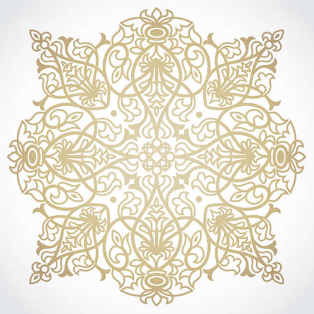 hand craft: Abstract vector ornament. Lace pattern design. Gold ornament on light background. Floral decorative element. Mandala. Ornate backdrop for your design.