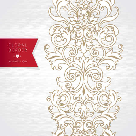Vector seamless border in Victorian style with red label. Ornate element for design. Ornamental pattern for wedding invitations, greeting cards, decoration for bags and clothes. Traditional decor. Illustration