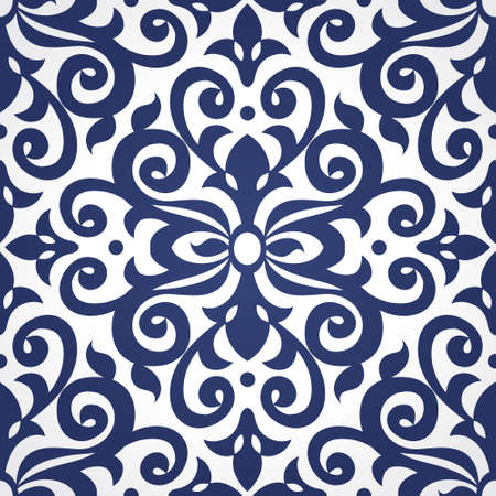 victorian wallpaper: Vector seamless pattern in Victorian style in contrast colors. Element for design. Ornamental backdrop. Decorating of wallpaper, pattern fills, web page background, surface texture, classic fabric.
