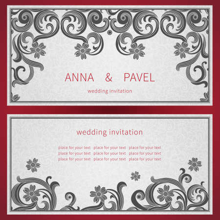 scroll work: Cards with black curls on scroll work east style background. Place for text. Template frame design for labels. Contrast border. Wedding invitation and greeting card. Vector illustration. Save for date. Illustration