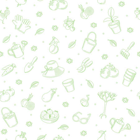 Vector seamless background of hand drawn garden tools, vegetables and fruits. It can be used for wallpaper, pattern fills, web page background, surface textures, decoration for bags and clothes. Vector