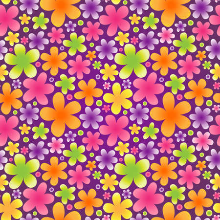 Bright floral seamless pattern on violet background. Vector backdrop. Endless wallpaper. Summer pattern fills. Simple flowers for web page design. Colorful surface textures. Vector