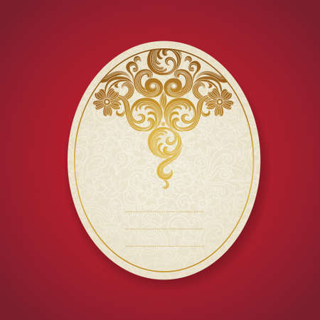 scroll border: Cards with golden curls. Vintage set of east style backgrounds of scroll work. Place for text. Template frame design for labels, invitation, greeting cards. Golden border. Element for design. Illustration