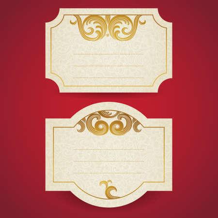 scroll work: Cards with golden curls. Vintage set of east style backgrounds of scroll work. Place for text. Template frame design for labels, invitation, greeting cards. Golden border. Element for design. Illustration