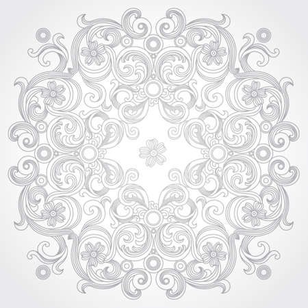 motif: Abstract vector circle ornament. Lace pattern design. Grey ornament on light background. Floral decorative element. Mandala. Ornate backdrop for your design. Illustration