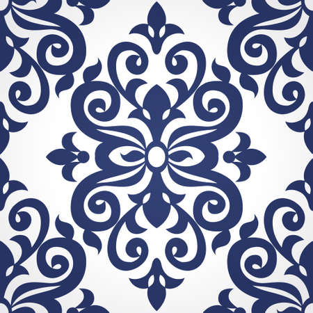 scroll tracery: Vector seamless pattern in Victorian style in contrast colors. Element for design. Ornamental backdrop. Decorating of wallpaper, pattern fills, web page background, surface texture, classic fabric.