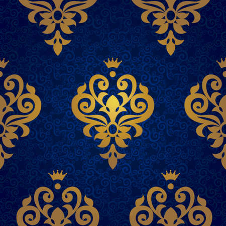 victorian wallpaper: Vector seamless pattern in Victorian style in gold decor. Element for design. Ornamental backdrop. Decorating of wallpaper, pattern fills, web page background, surface texture, classic fabric. Illustration