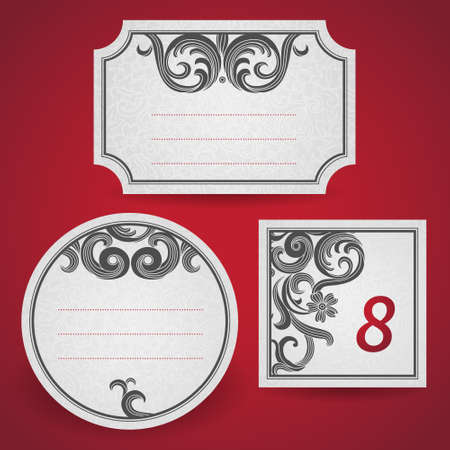 scroll border: Cards with black curls on scroll work east style background. Place for text. Template frame design for labels. Contrast border. Wedding invitation and greeting card. Vector illustration. Save for date. Illustration