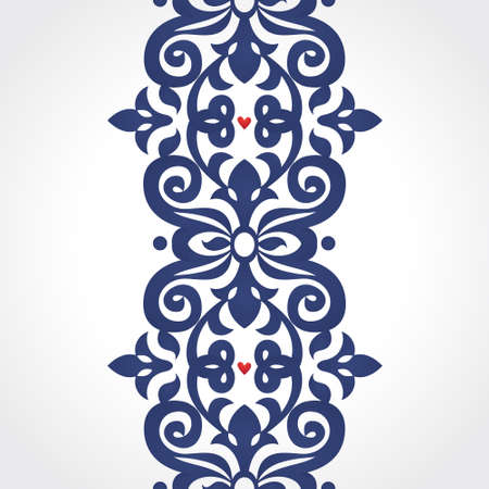 Vector seamless border in Victorian style. Ornate element for design. Place for text. Ornamental pattern for wedding invitations, greeting cards, decoration for bags and clothes. Traditional decor. Illustration