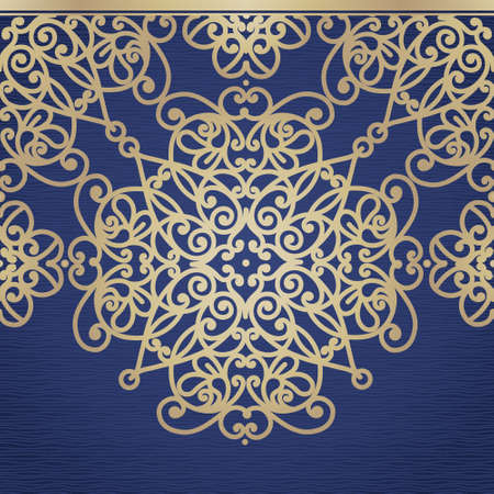 floral border frame: Vector seamless border in east style. Ornate element for design. Place for text. Golden ornamental pattern for wedding invitations, greeting cards. Traditional lace decor. Illustration