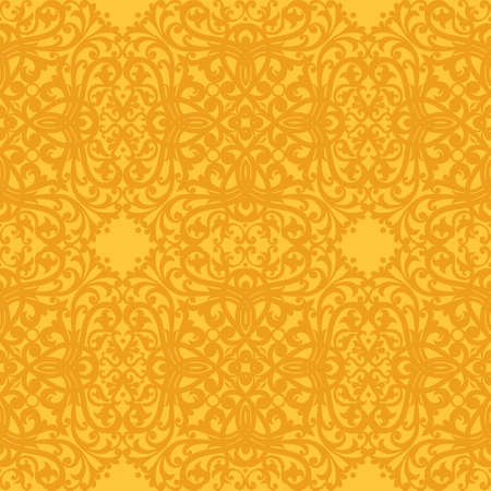 victorian wallpaper: Vector seamless pattern in Victorian style. Element for design. Ornamental backdrop and yellow floral background. Ornate decor for wallpaper. Endless texture. Deluxe pattern fill. Illustration