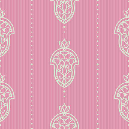 victorian wallpaper: Vector seamless pattern in Victorian style. Element for design. Ornamental backdrop. Light lace background. Ornate floral decor for wallpaper. Endless texture. Bright pink pattern fill. Illustration