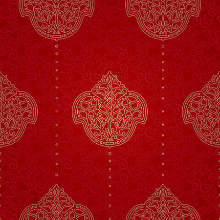 oriental background: Vector seamless pattern in Eastern style. Element for design. Ornamental backdrop. Brocade lace background. Ornate floral decor for wallpaper. Traditional golden tracery on red pattern fill.
