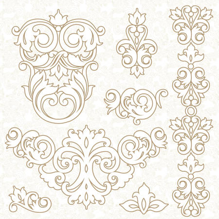 traditional events: Vector set of ornament in Victorian style. Ornate elements for design and place for text. Ornamental lace pattern for wedding invitations and greeting cards. Traditional decor. Illustration