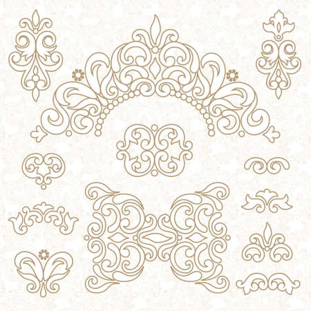 place card: Vector set of ornament in Victorian style. Ornate elements for design and place for text. Ornamental lace pattern for wedding invitations and greeting cards. Traditional decor. Illustration