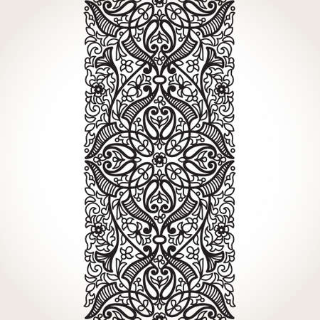 lace border: Vector seamless border in Eastern style. Ornate element for design and place for text. Ornamental contrast pattern for wedding invitations and greeting cards. Traditional monochrome decor.