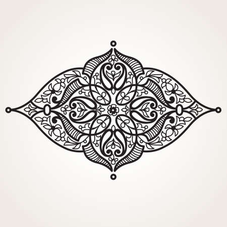 black lace: Vector ornament in Eastern style. Ornate element for design in Moroccan style. Ornamental lace pattern for wedding invitations and greeting cards. Traditional black decor on white background.