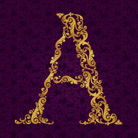 ゴールド フォント タイプ文字、大文字します。ベクトルのカールと花のモチーフから作られた黄金のアルファベットのバロック式要素。ビクトリア