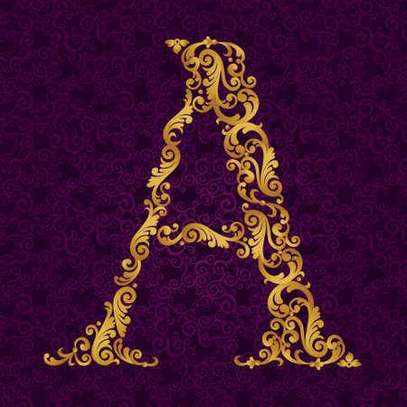 letter art: Gold font type letter A, uppercase. Vector baroque element of golden alphabet made from curls and floral motifs. Victorian ABC element in vector.
