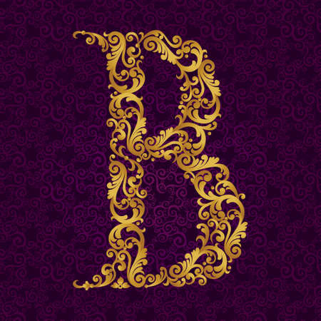 Gold font type letter B, uppercase. Vector baroque element of golden alphabet made from curls and floral motifs. Victorian ABC element in vector.