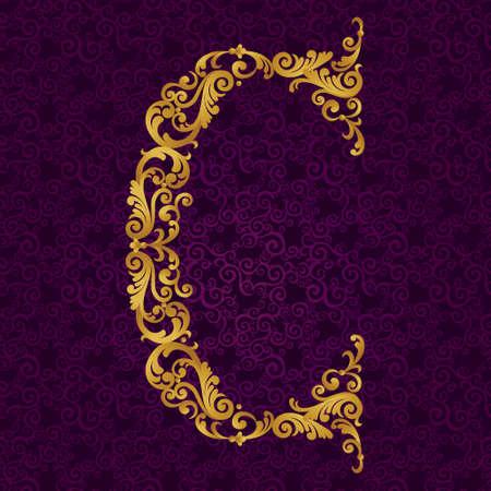 arabische letters: Gold lettertype letter C, hoofdletters. Vector barokke element van gouden alfabet gemaakt van krullen en bloemmotieven. Victoriaanse ABC element in vector.