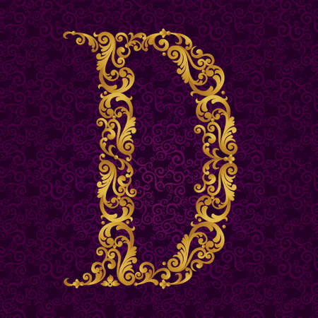 Gold font type letter D, uppercase. Vector baroque element of golden alphabet made from curls and floral motifs. Victorian ABC element in vector.