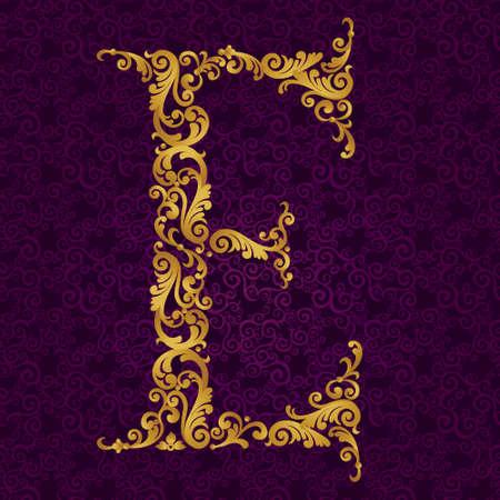 골드 글꼴 유형의 문자 E, 대문자. 곱슬 머리와 꽃 모티브로 만든 황금 알파벳의 벡터 바로크 양식의 요소입니다. 벡터 빅토리아 ABC 요소. 일러스트