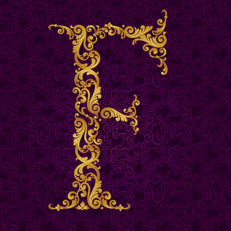 Gold font type letter F, uppercase. Vector baroque element of golden alphabet made from curls and floral motifs. Victorian ABC element in vector. Illustration