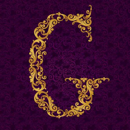 ゴールド フォント タイプの手紙 G、大文字。カールと花のモチーフから作られた黄金のアルファベットのベクターのバロック要素。ビクトリア朝の