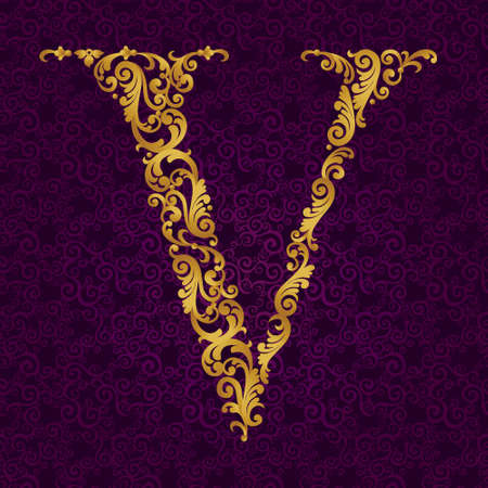 arabic: Gold font type letter V, uppercase. Vector baroque element of golden alphabet made from curls and floral motifs. Victorian ABC element in vector. Illustration