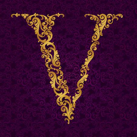 letter v: Gold font type letter V, uppercase. Vector baroque element of golden alphabet made from curls and floral motifs. Victorian ABC element in vector. Illustration