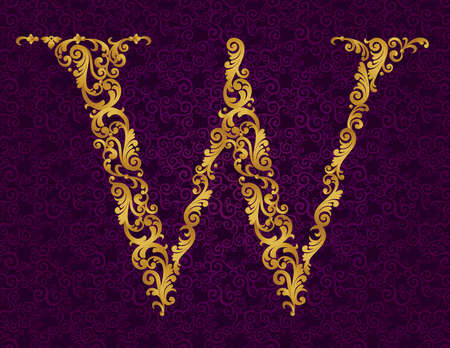 letter w: Gold font type letter W, uppercase. Vector baroque element of golden alphabet made from curls and floral motifs. Victorian ABC element in vector.