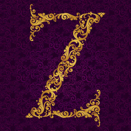 Gold font type letter Z, uppercase. Vector baroque element of golden alphabet made from curls and floral motifs. Victorian ABC element in vector.