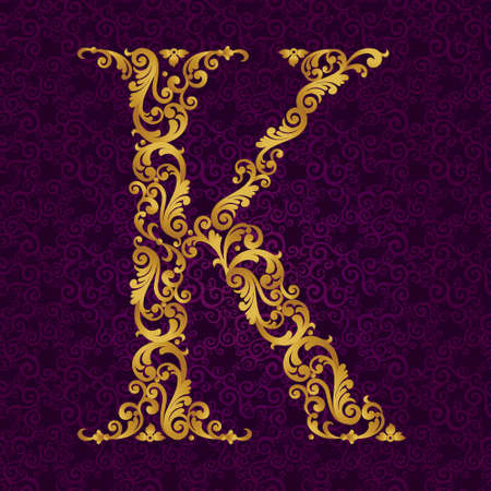 Gold font type letter K, uppercase. Vector baroque element of golden alphabet made from curls and floral motifs. Victorian ABC element in vector. Illustration