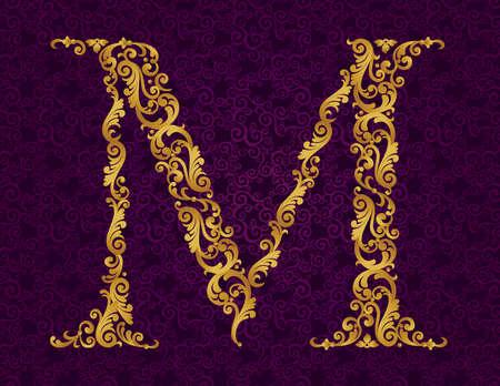 ゴールド フォント タイプ文字 M、大文字。ベクトルのカールと花のモチーフから作られた黄金のアルファベットのバロック式要素。ビクトリア朝の